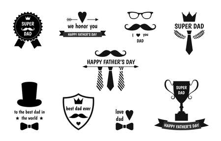Happy Father's Day labels set. Flat style vector logo and emblems for greeting card, barbershop, t-shirt design.