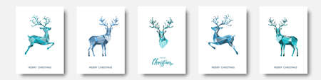 Christmas and New Year greeting card. Polygonal blue Xmas reindeer. Bright colorful decoration on white background. Vector illustration.
