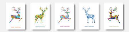 Christmas and New Year greeting card. Polygonal Xmas reindeer. Bright colorful decoration on white background. Vector illustration.