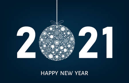 2021 Happy New Year greeting card on blue background with Christmas ball with white snowflakes. Vector decoration.