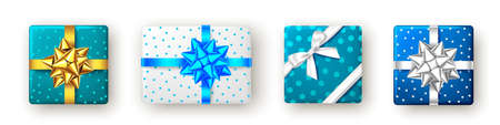 Blue, golden, silver gift box with ribbon and bow, top view. Christmas, New Year party, Happy birthday or Valentine day package design. Present isolated on white background. Vector. 矢量图像