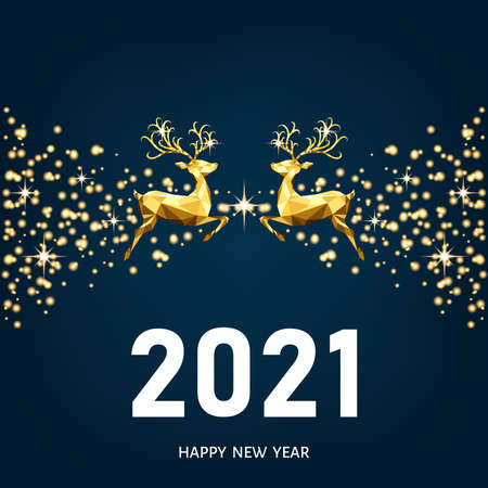Happy New Year 2021 blue background. Christmas gold pattern. Golden, white decoration. Xmas reindeer. Vector template for greeting card.