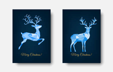 Christmas and New Year greeting card. Polygonal Xmas reindeer. Bright colorful decoration on blue background. Vector illustration. 矢量图像