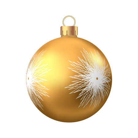 Golden  Christmas  ball  with pattern  isolated on white background. Xmas  tree decoration. Vector gold bauble.