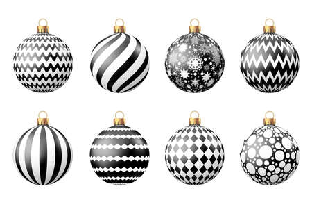 Christmas  balls  with pattern  isolated on white background. Xmas  tree and Black Friday decoration. Vector bauble set.