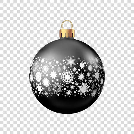 Christmas ball with pattern isolated on white background.