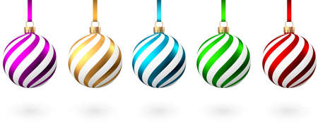 Red, blue, green, golden, purple Christmas balls with pattern isolated on white background. Xmas tree decoration. Bauble collection.