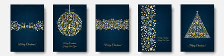 Christmas gold pattern. Golden, white decoration. Happy New Year blue background. Xmas reindeer, gifts, snowflakes. Template for greeting card.