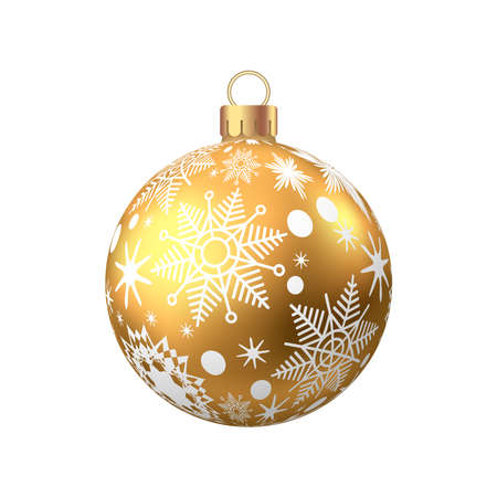 Golden Christmas ball with pattern isolated on white background. 矢量图像