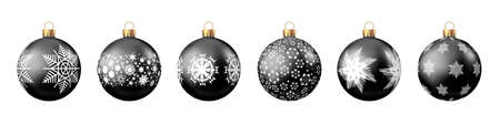 Christmas balls with pattern isolated on white background. Xmas tree and Black Friday decoration. Vector bauble set. 矢量图像