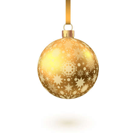 Golden Christmas ball with pattern isolated on white background. Xmas tree decoration. Vector gold bauble. 矢量图像