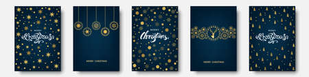 Christmas gold pattern. Golden, white decoration. Happy New Year blue background. Xmas tree, deer, lettering, snowflakes. Vector template for greeting card.