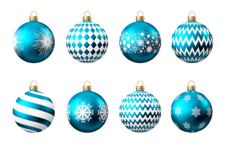 Realistic blue Christmas balls with pattern isolated on white background. Xmas tree decoration. Vector bauble. 矢量图像