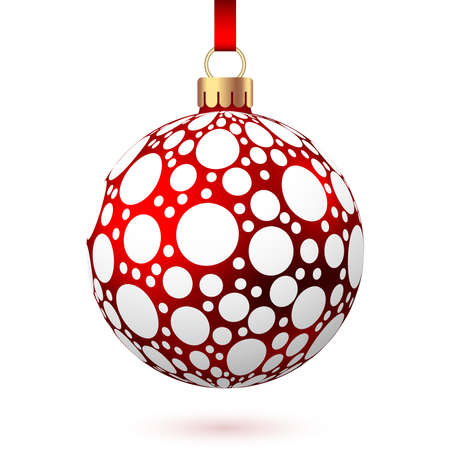 Realistic red Christmas ball with pattern isolated on white background. Xmas tree decoration. Vector bauble. 矢量图像