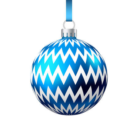 Realistic blue Christmas ball with pattern isolated on white background. Xmas tree decoration. Vector bauble. 矢量图像