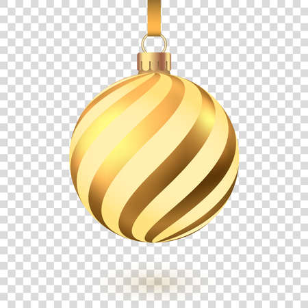 Golden Christmas ball with pattern isolated on white background. Xmas tree decoration. Vector gold bauble. 版權商用圖片 - 157643729