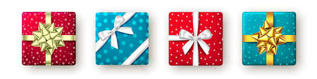 Red, golden, blue gift box with ribbon and bow, top view. Christmas, New Year party, Happy birthday or Father day package design. Present isolated on white background. Vector.