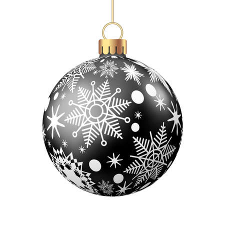 Christmas ball with pattern isolated on white background. Xmas tree and Black Friday decoration. Vector bauble.