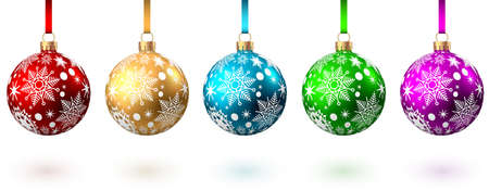 Red, blue, green, golden, purple Christmas balls with pattern isolated on white background. Xmas tree decoration. Vector bauble collection. 版權商用圖片 - 157902956