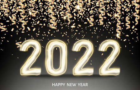 2022 happy New Year black background with golden ribbon and confetti. Christmas decoration with glowing neon gold number. Vector winter holiday greeting card template.