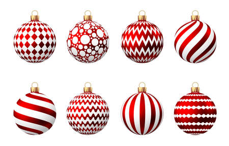Red Christmas ball with pattern isolated on white background. Xmas tree decoration. Vector bauble set.