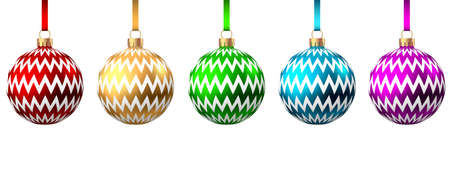 Colorful Christmas balls isolated on white