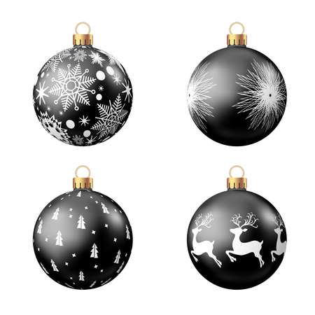 Christmas balls with pattern isolated on white