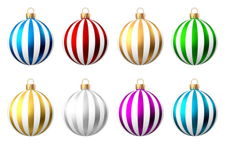 Red, blue, green, golden, purple, silver Christmas balls with pattern isolated on white background. Xmas tree decoration. Vector bauble set. Ilustrace