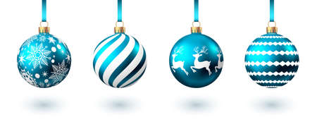 Realistic blue Christmas balls with pattern isolated on white background. Xmas tree decoration. Vector bauble. Ilustrace