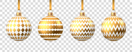 Golden Christmas ball with pattern isolated on white background. Xmas tree decoration. Vector gold bauble. Ilustrace