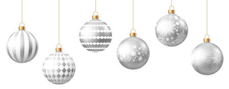Realistic silver Christmas balls with pattern isolated on white background. Xmas tree decoration. Vector bauble.