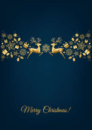 Christmas gold pattern. Golden decoration. Happy New Year 2021 blue background. Xmas reindeer, gifts, snowflakes. Vector template for greeting card.