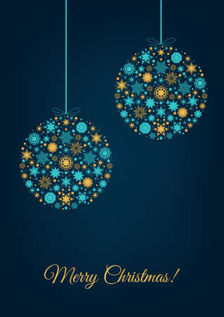 Christmas tree, ball with blue, gold holiday pattern from snowflakes, xmas elements and decorations. Vector flat illustration for greeting card, poster or invitation. Ilustrace