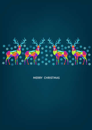 Christmas and Happy New Year pattern. Polygonal Xmas reindeer and snowflakes. Bright colorful tree decoration on blue background.Vector template for cover, greeting card. Ilustrace