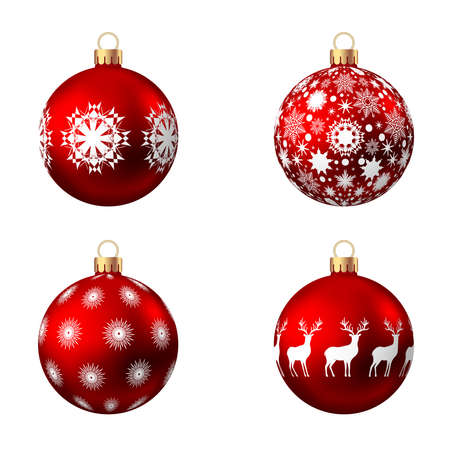 Realistic red Christmas balls with pattern isolated on white background. Xmas tree decoration. Vector bauble collection.