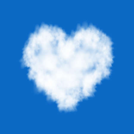 Plane track isolated on blue background. White cloud heart. Love. Sky. Steam special effect. Realistic vector fog, smoke texture for Valentine day banner. Ilustrace