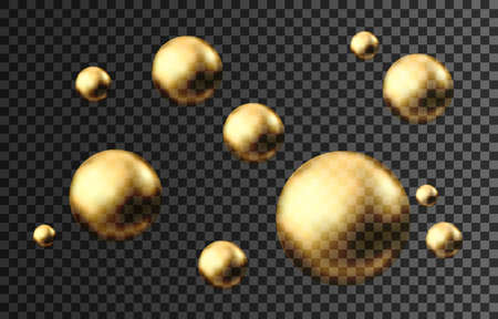 Gold sphere. Oil bubble isolated on black background. Golden glossy 3d ball or precious pearl. Yellow serum or collagen drops. Vector decoration element for skincare cosmetic package. Ilustrace