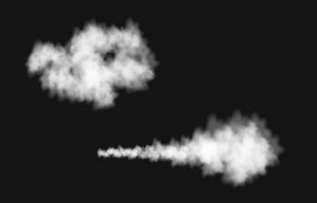 Realistic white smoke puff isolated on transparent background. Steam explosion special effect. Vector fire fog or mist texture.