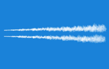 Plane track isolated on blue background. White smoke texture. Sky. Realistic vector column of fog or mist.