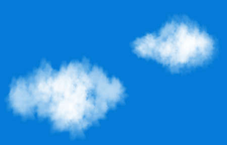 Realistic white smoke cloud in the blue sky. Steam explosion special effect. Vector fire fog or mist texture.