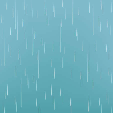 Rain drops isolated on blue background. Rainfall. Realistic falling water. Vector texture.
