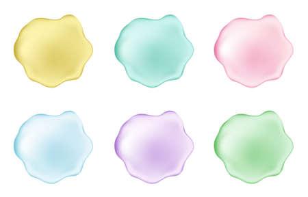 Dripping pink, golden, green, blue creamy liquid. Yogurt with jam. Paint. Gold collagen serum drop. Vector drip texture.