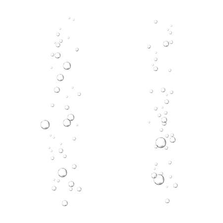 Oxygen air bubbles flow in water on white background. Fizzy sparkles in sea, aquarium. Soda pop. Champagne. Effervescent tablet. Undersea vector texture. Illustration