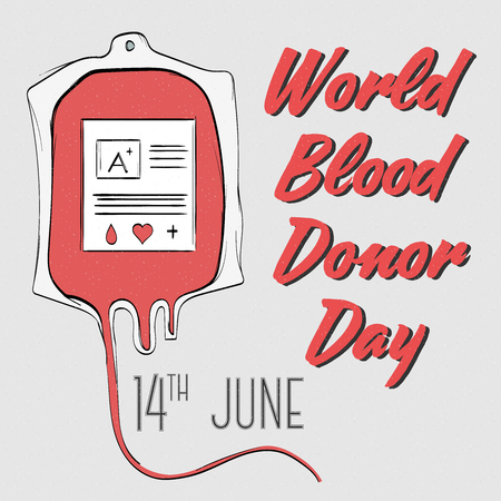 donor: Hand drawn modern  poster or  banner for blood donor