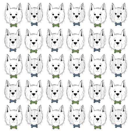 West Highland White Terrier scetch patroon. Kan gebruikt worden als post-kaart, achtergrond of banner Stock Illustratie