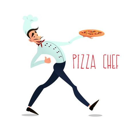 pizza maker: Cook with pizza. pizza menu. Italian pizza. Chef. Pizza delivery.