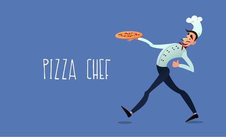 Cocinar con pizza. menú de pizza. Pizza italiana. Cocinero. Delivery de pizza. Ilustración de vector