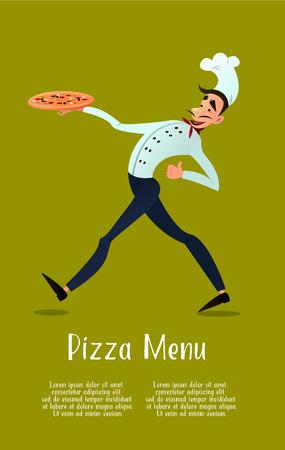 Kok met pizza. pizza menu. Italiaanse pizza. Chef. Pizza bezorging.