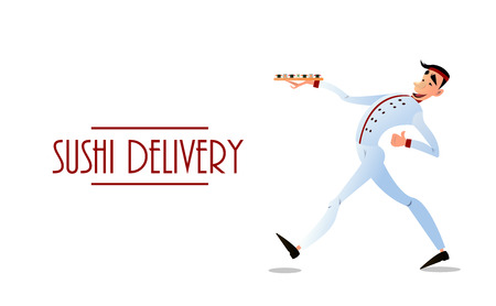delivers: Sushi delivery poster. Sushi menu design. Japanese sushi delivers. Bright cheerful character in a flat style