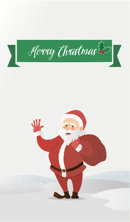 grandfather frost: Santa Claus waving. Has brought the bag with gifts. Vector illustration of a flat style. Bright New Year and Christmas characters Illustration